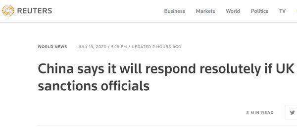 """BBC想知道:如果英国""""制裁中国官员"""",中方怎么做?"""