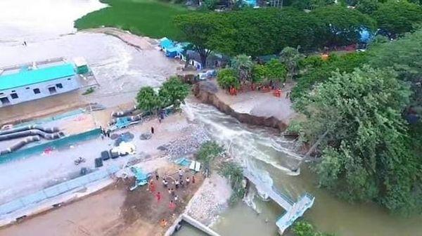 缅甸曼德勒一处水坝被洪水冲毁 四个村庄被淹