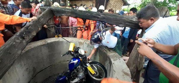 摩托车极速行驶落入井中酿成悲剧