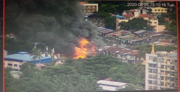 仰光淡汶镇发生火灾