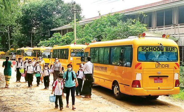 仰光民间交通管理委员会将为有需要的中小学校安排校车
